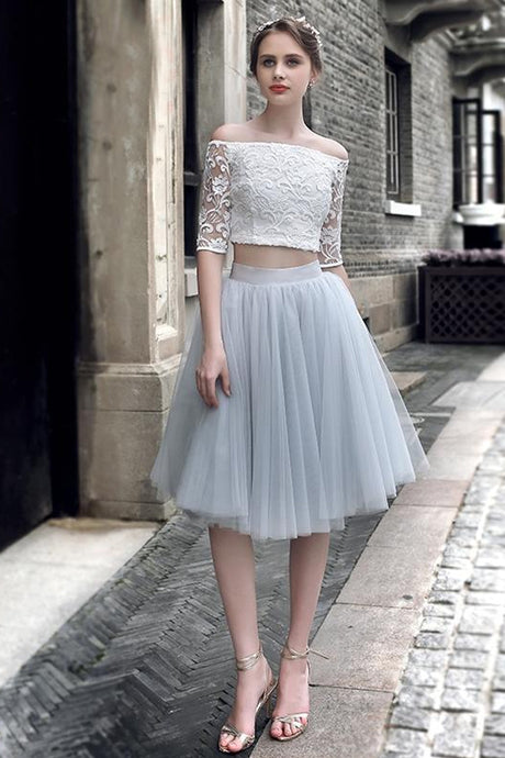 Off-the-shoulder Lace Tulle Knee-length Two Piece Prom Dresses Homecoming Dresses