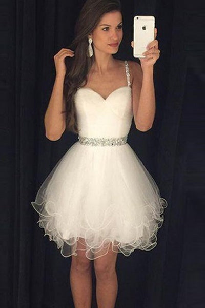 Cute Sweetheart Tulle Short/Mini Beading Homecoming Dresses