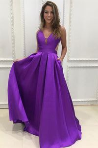 A-line V-neck Satin Prom Dresses