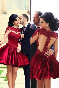 Gorgeous Appliques Lace Short/Mini Long Sleeve Prom Dresses Homecoming Dresses