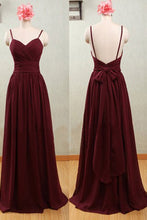 Spaghetti Straps Claret Chiffon Sweetheart Open Back Bridesmaid Dresses