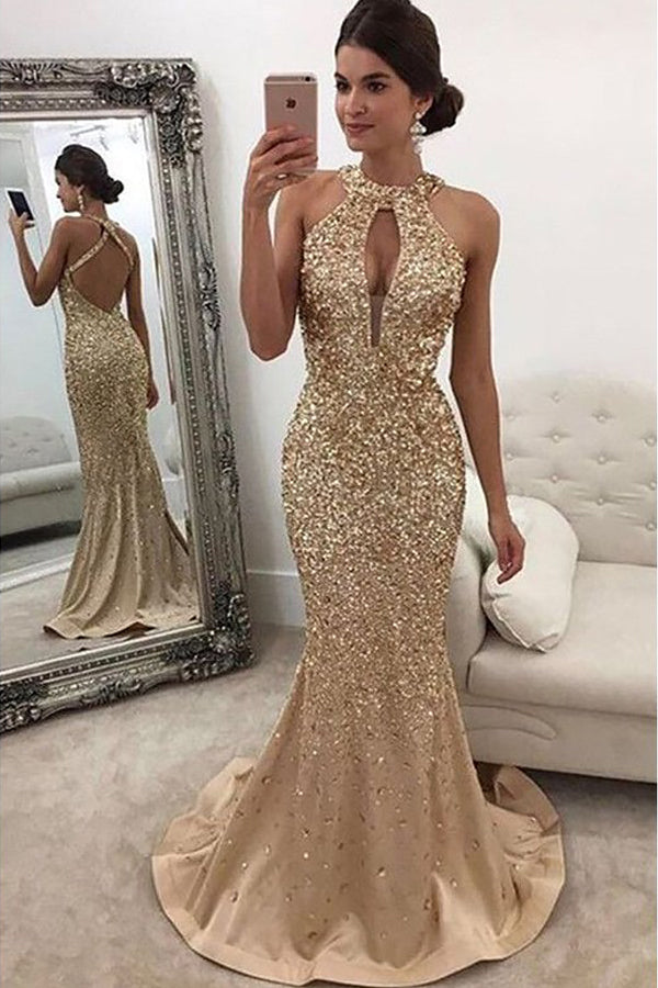 Mermaid Sleeveless Halter with Sequin Evening Dresses