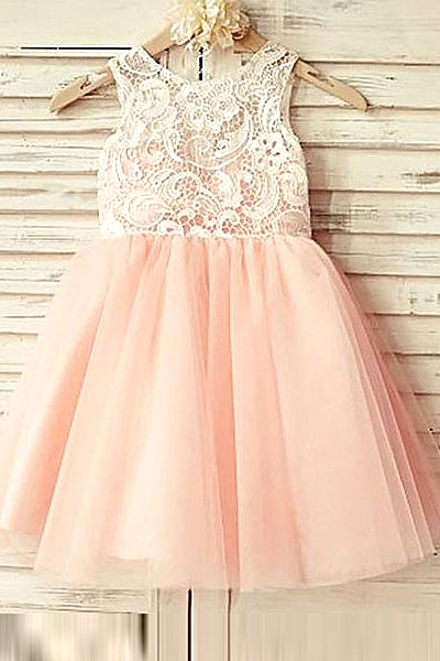 c3ce4b63d305 A-Line Round Neck Short Cute Tulle Flower Girl Dress with Lace