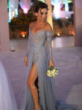 A-Line/Princess Off-the-Shoulder Long Sleeves Applique Tulle Evening Dresses