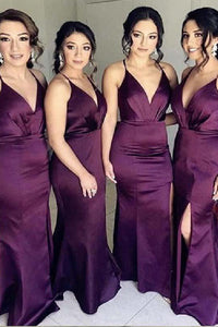 Modern Mermaid Deep V-Neck Bridesmaid Dresses