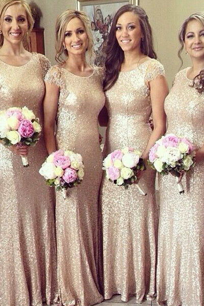 Shinning Cap Sleeve Sequin Small Round Neck Long Bridesmaid Dresses