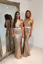Sexy Sequined Long Evening Dresses with A White Sash