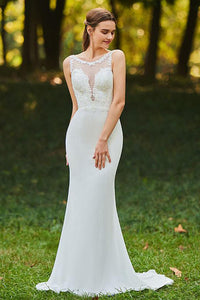 Sexy Mermaid Chiffon Illusion Scoop Neckline Bridal Gowns