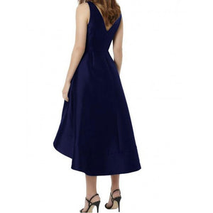 V-Neck Royal Blue Satin Bridesmaid Dress