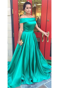 Modern Ball Gown Off-the-Shoulder Sweep Train Prom Dresses