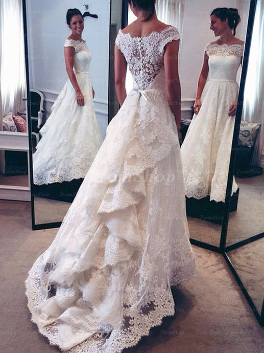 Decent Off Shoulder A-line Cascading Ruffles Court Train Lace Wedding Dresses