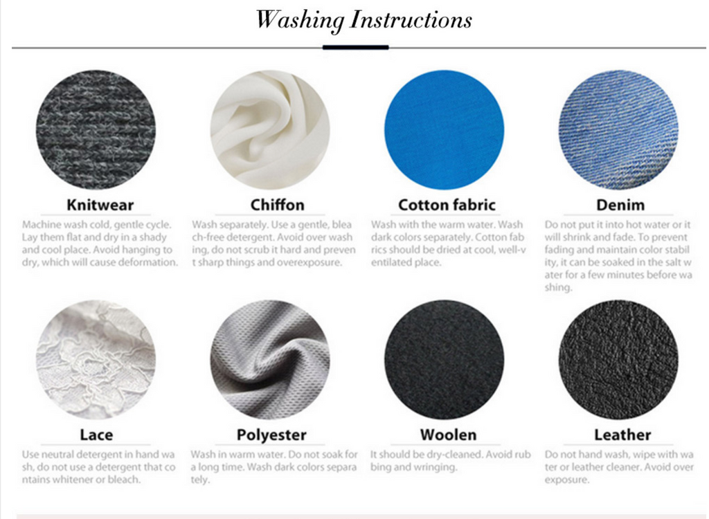 Washing instructions for materials