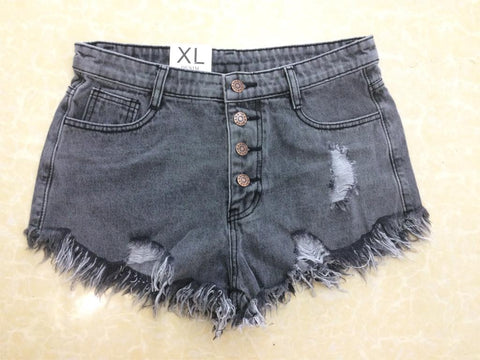 Distressed high waist women's denim shorts button fly with worn hem ~ 6 colors!