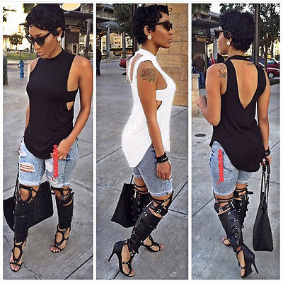 Loose halter tank top with side cut outs