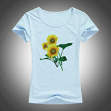 Sunflower printed cotton short sleeve top