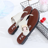 Side buckle leather thong sandals ~ 2 colors