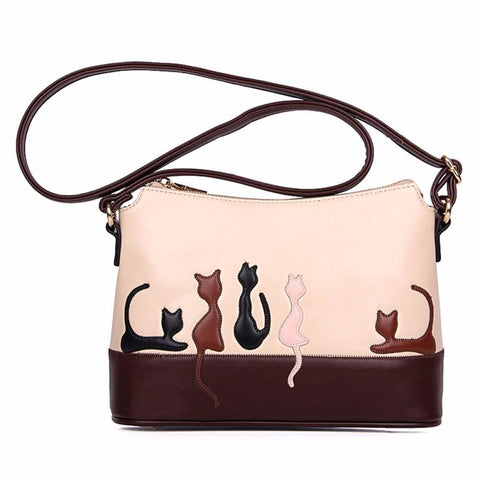 Pink and brown messenger bag with multi color kittens & adjustable strap