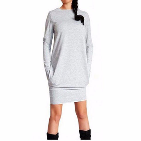 Long sleeve above the knee jersey dress with pockets