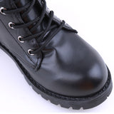 Leather motorcycle ankle boots