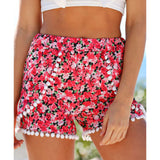 Summer style casual women's shorts with pom pom hem & multi styles & sizes