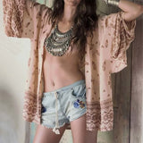 Mixed design print loose bohemian kimono cover-up ~ plus size available