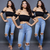 Off shoulder stretchy hippie tube crop top ~ 4 colors