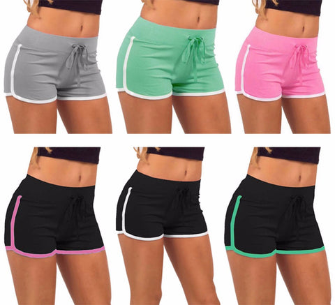 Retro elastic waist  shorts with stripe and drawstring ~ 7 colors!