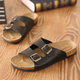 Cork slip on sandals casual double or single buckle