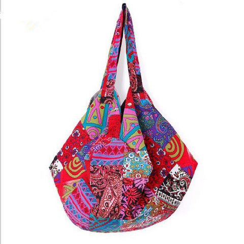 Geometric patchwork design in a  large capacity boho bag