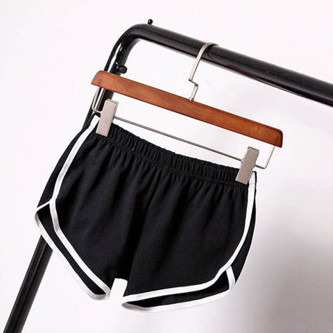 Casual cotton solid colors breathable elastic waist shorts