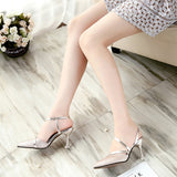Shimmering classics slip on slingback heels heart shaped tips