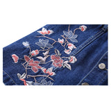 Embroidered denim jeans above the knee skirt with button front
