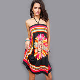 Bold & colorful vintage floral print tube top dress