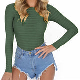 Stretchy bodycon bodysuit long sleeve O-neck solid colors