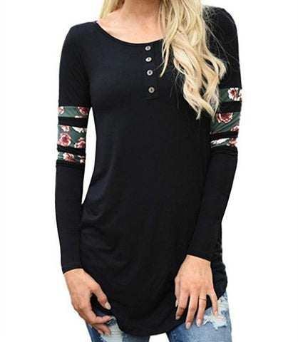 Long sleeve flower printed button front top ~ 5 choices!