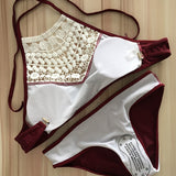 High-neck with lace bikini set ~ Plus size available ~ 4 colors!