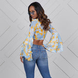 Vintage ruffled butterfly bell sleeves & tie front crop top