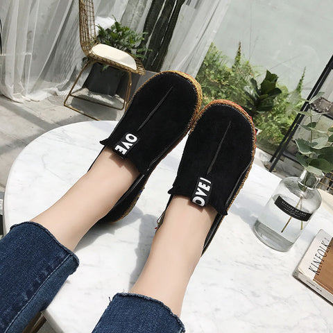 Comfortable leather slip on loafers with rubber soles
