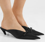 Slip on pointed toe kitten heels with bowtie accents ~ 3 colors!