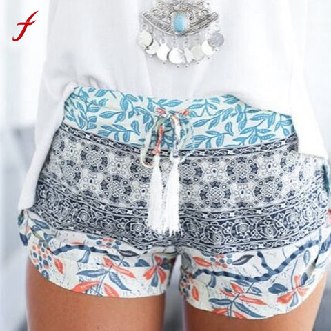 High waist multi printed elastic waist shorts ~ Plus size available