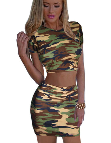 Camouflage women's 2-piece skirt set with crop top