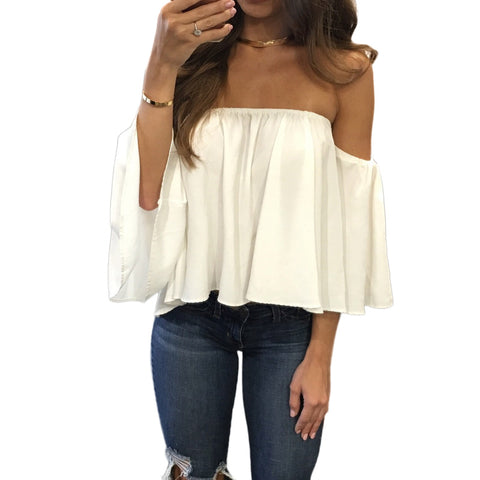Flowing off the shoulder crop top with flare sleeves