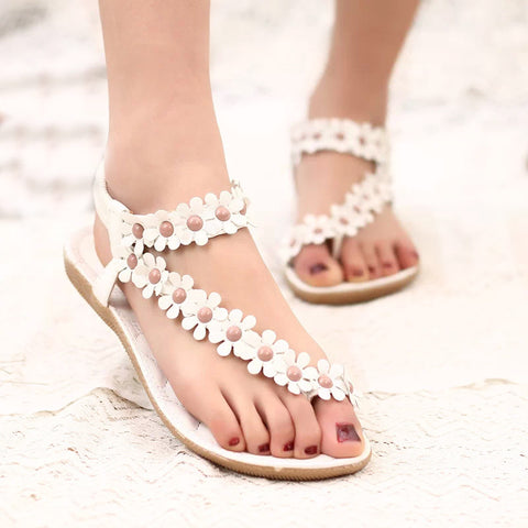 Warm weather leather flower design sandals