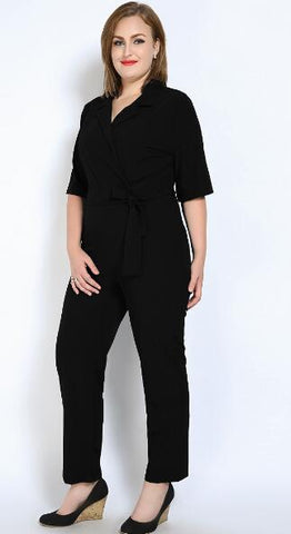 Full length V-neck jumpsuit in 5 colors and offered in plus sizes