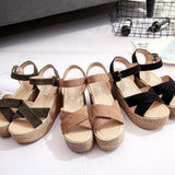 Suede & rope with criss cross tops elevator sandals