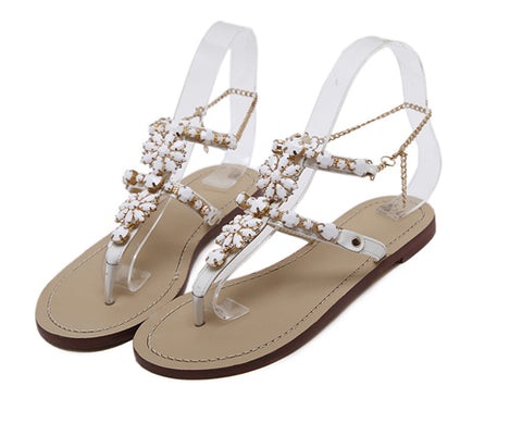 Slip on crystal rhinestones gladiator sandals ~ 4 colors!