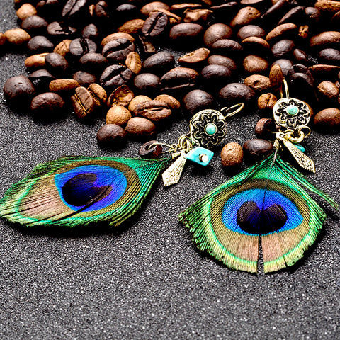 Ethnic natural peacock feather pendant earrings