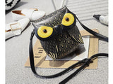 Owl shaped leather crossbody bag with adjustable strap ~ 3 colors