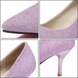 Shimmering pointed toe sequined high heels  ~ 3 colors!