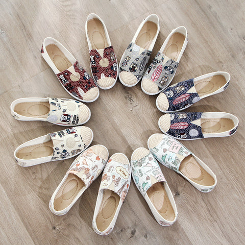 Slip on casual canvas shoes with several cute designs